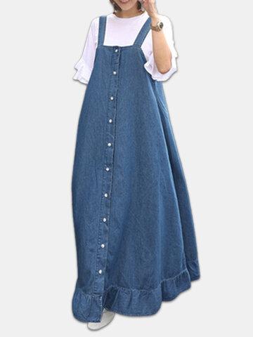Denim Ruffle Straps Button Maxi Dress
