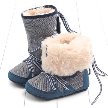 Warm Fleece Lace Up Infant Boots For 6-24 Months