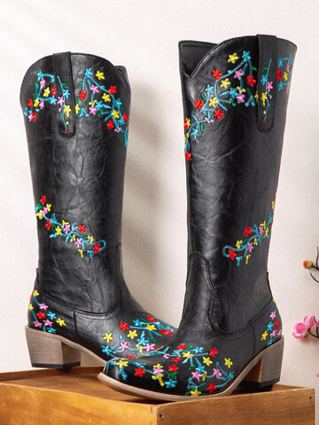 Ethnic Embroidered Black Cowboy Boots