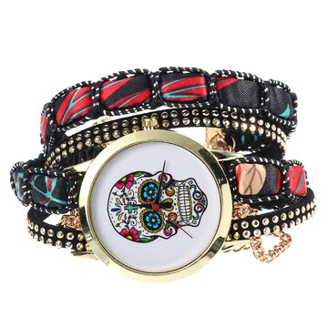 Women's Ethnic Skull Bracelet Watches