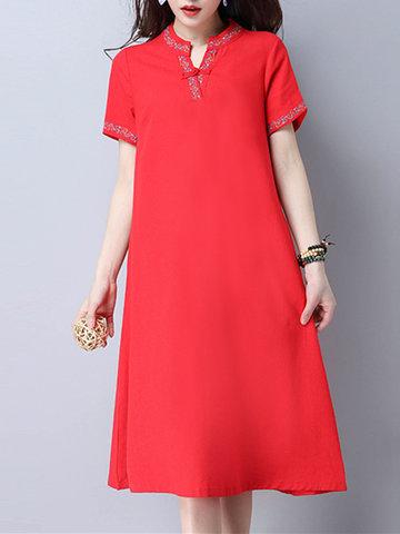 [{}} Damen Bestickter V-Ausschnitt Kurzarm Vintage Kleider [{}} Damen Kurzarm V-Ausschnitt Vintage-Kleid, es hat zwei Farben und sehr perfekt für den Sommer.