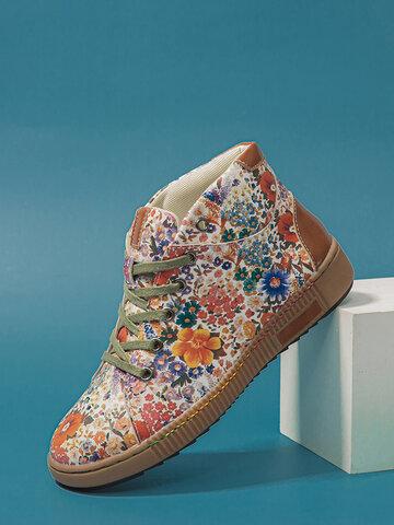SOCOFY Baskets décontractées imprimées florales cousues exquises Chaussures de skate