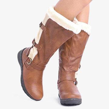 Microfiber Plush Zipper Knee High Boots