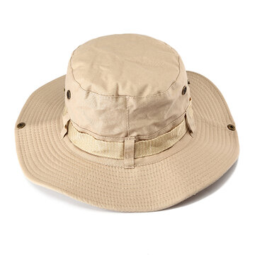 Men Women Outdoors Fishing Bucket Hat Folding Visor Sun Hat, Khaki army green coffee dark gray