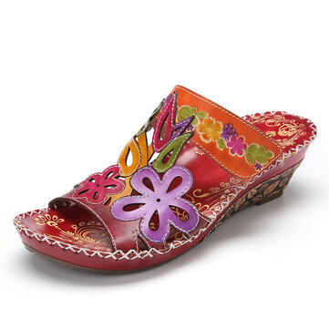 SOCOFY Floral Embossed Leather Adjustable Strap Stitching Wedge Sandals