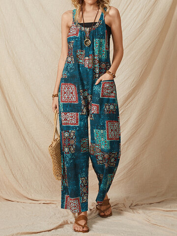 Ethnic Print Straps Pockets Jumpsuit