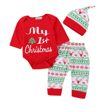 3Pcs Christmas Girls Set For 0-36M