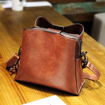 Women Vintage  PU Leather Bucket Bags