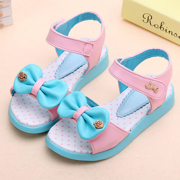 Girls Bowknot Colorful Summer Sandals