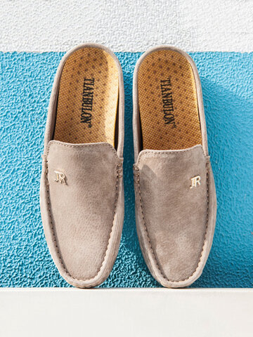 Men Micorfiber Leather Comfy Backless Loafers