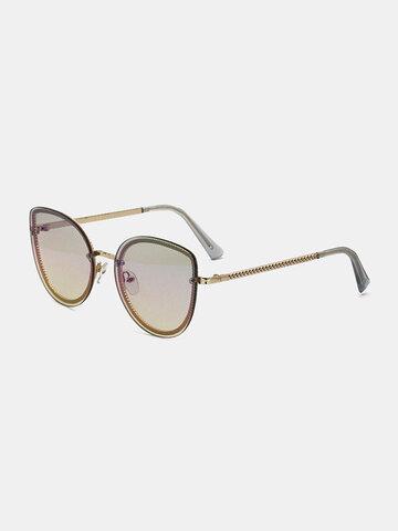 Unisex Metal Frame Tinted Lens Sunglasses