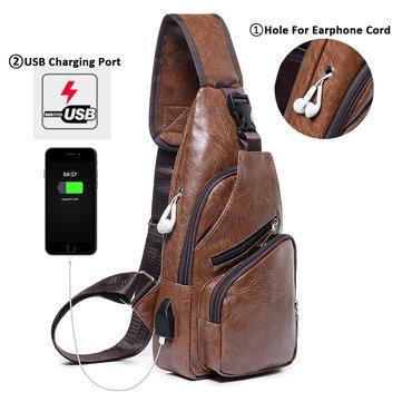 PU Leder USB wiederaufladbare Brusttasche