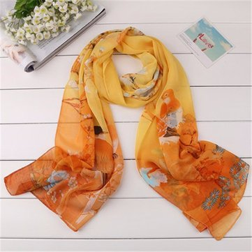 Women Flower Pattern Ink Painting Silk Scarf Plus Size Wide Luxury Shawl, White