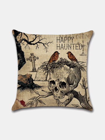 1 PC Retro Linen Halloween Decoration In Bedroom Living Room Cushion Cover Throw Pillow Cover Pillowcase