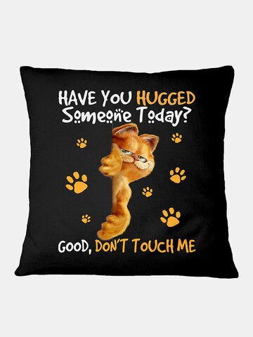 Cat And Letter Pattern Linen Cushion Cover Home Sofa Art Decor Throw Pillowcase