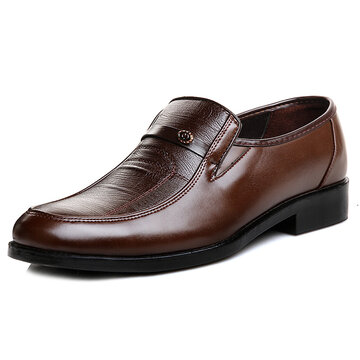 Men Soft Leather Slip On Business Casual Shoes