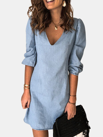 Solid Color Denim Casual Dress
