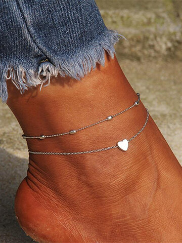 Trendy Double-layered Heart Anklet