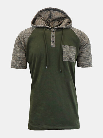 Mens Summer Casual Hooded T-shirt