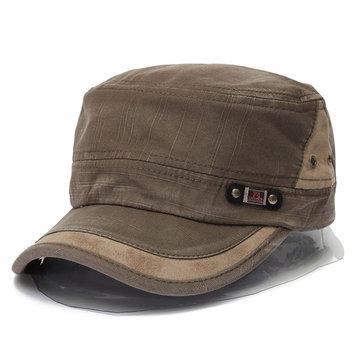 Chapéu Vintage Militar Com Aba Cor Pura de Tecido Lavado