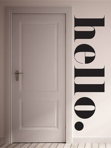 1PC PVC Removable Hello Large Letter Words Slogan Home Decor Wall Art Self-adhesive Creative Carved Environmental Wall Decal Wall Sticker For Cafe Shop Living Room Study Room Bedroom