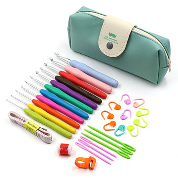 31pcs Crochet Hooks Kit Tapestry Craft Yarn Knitting Needles