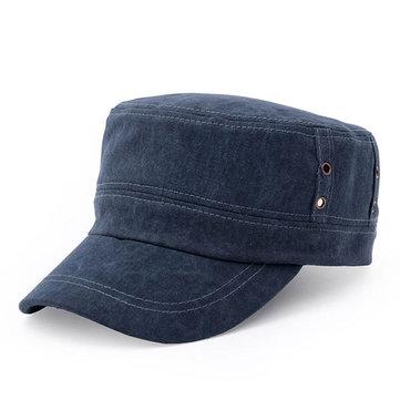 Solid Washed Flat Baseball Cap Outdoor Sun Hat, Dark green brown black gray