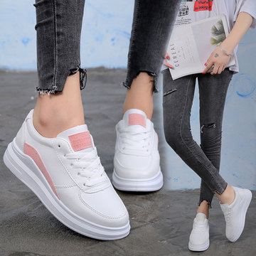 White Lace Up Flat Sneakers