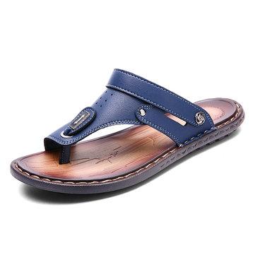 Sandálias Masculinas De Couro De Microfibra Amigáveis De Água