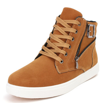 Men Zipper Ornament High Top Flat Lace Up Casual Ankle Boots