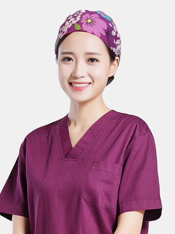 Cartoon Print Floral Tie-back Surgical Caps Scrub Hat