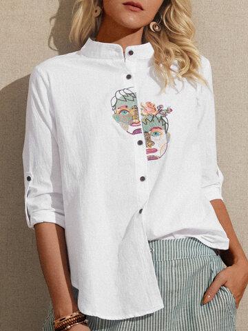 Блузка с длинным рукавом с вышивкой