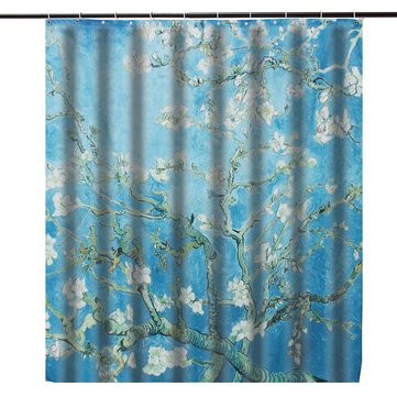 180*180cm Hand Painted Pear Theme Waterproof Fabric Shower Curtain With 40*60cm Bathroom Mat