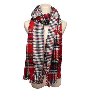 Women Colorful Plaid Double Faced Knitted Tweed Scarf Shawl