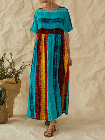 Striped Patchwork Print Maxi Dress