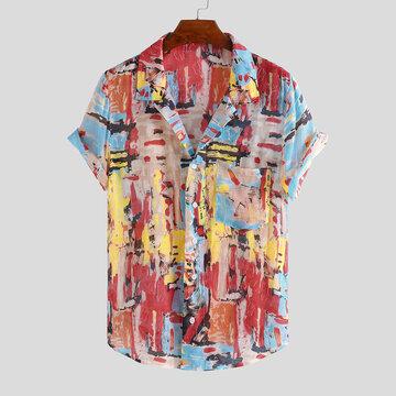 Мужские рубашки с цветными принтами в стиле граффити