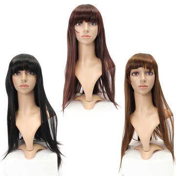 Fluffy Straight Wig High-Temperature Fiber Natural Long Hair Full Wigs Party 3 Colors, Light brown dark brown black