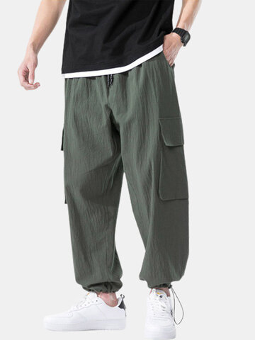 Linen Solid Drawstring Cargo Pants