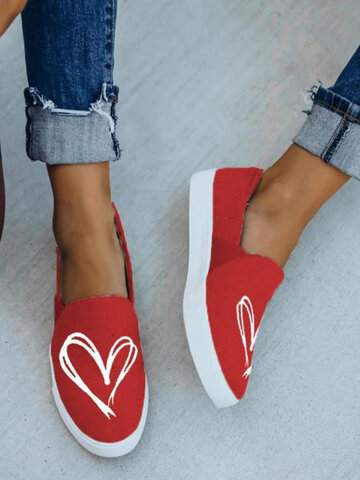 Heart-shaped Antiskid Flat Canvas Shoes