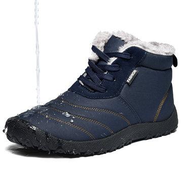 Uomo Scarpe da Neve alla Caviglia Foderate in Peluche con Strisce con Lacci a Grande Taglia