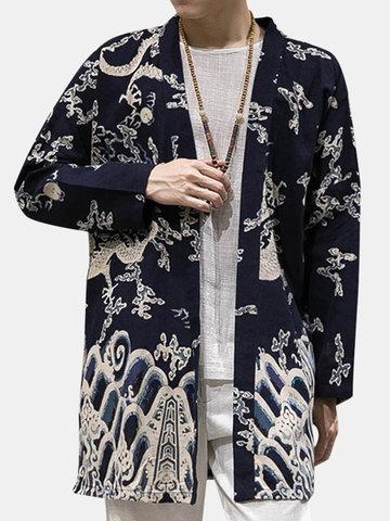 Cotton Linen Kimono Loose Printed Cardigans