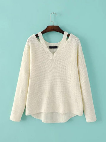 Women Casual Cold Shoulder Loose V-neck Long Sleeve Sweater фото