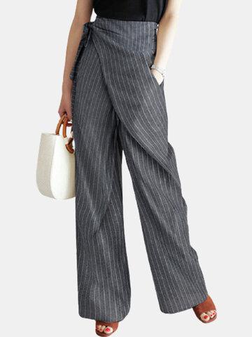 Striped Wrap Irregular Pants