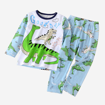 Boy's Dinosaur Print Pajama Set For 1-7Y