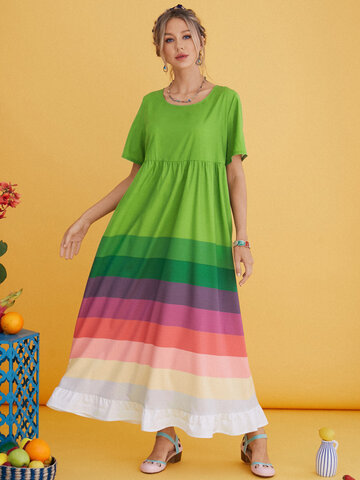 Rainbow Striped Casual Dresses