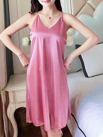 Ice Silk Sexy Lace Loose Sling Nightdress