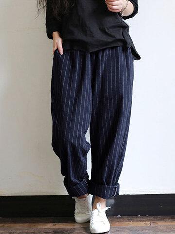 Vintage Stripes Loose Pants