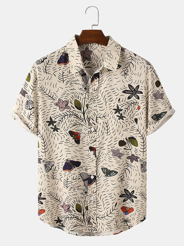 Plant & Butterfly Print Holiday Shirt