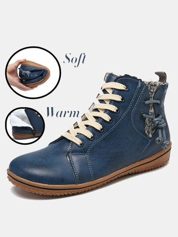 Women Warm Comfy Slip Resistant Flat Ankle Boots