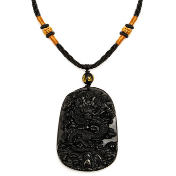 Black Obsidian Carved Dragon Pendant Necklace